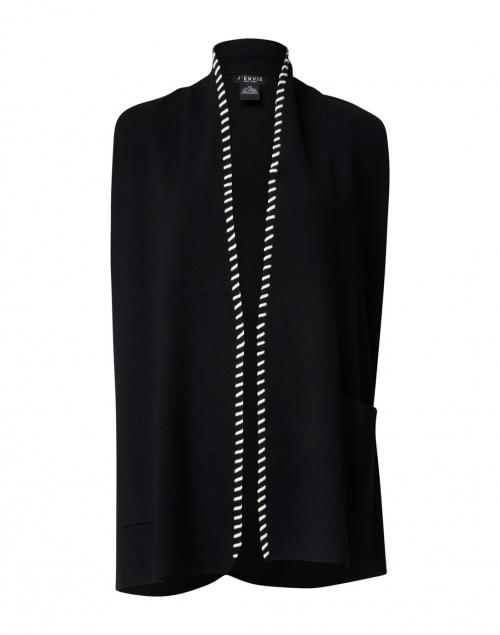 J'Envie Black Knit Vest with Ivory Whipstitch Trim