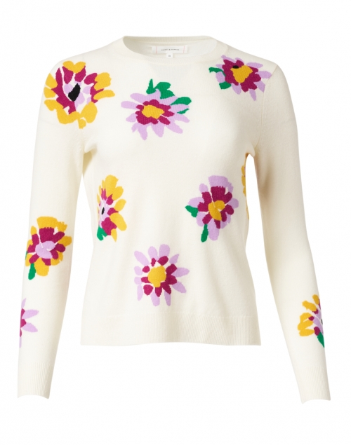 Chinti and Parker Ivory Floral Intarsia Wool and Cashmere Sweater