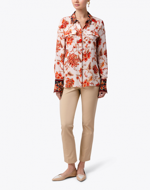 Kobi Halperin - Alisa White and Red Floral Silk Shirt