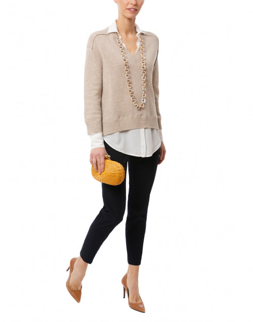 Brochu Walker - Beige Sweater with White Underlayer