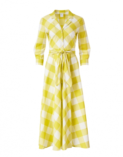 Sara Roka - Gesla Citron and White Gingham Printed Dress