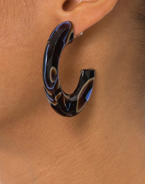 Pono by Joan Goodman - Gia Blue and Brown Resin Hoop Earrings