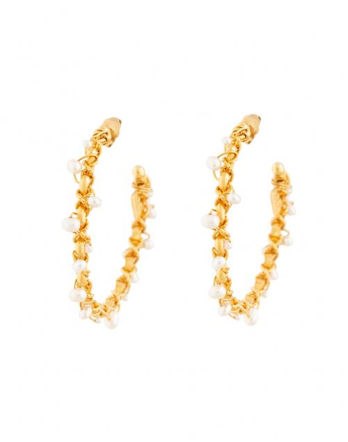 Gas Bijoux Creole Orphee Pearl Beaded Hoop Earrings