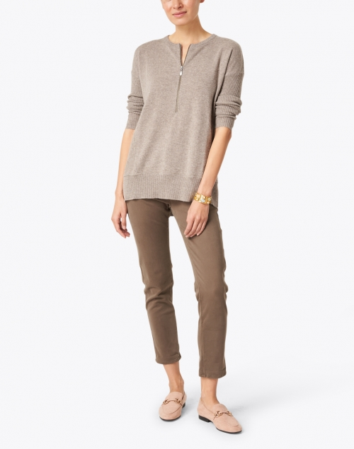 Kinross - Hazelnut Cashmere Zip Up Henley Sweater