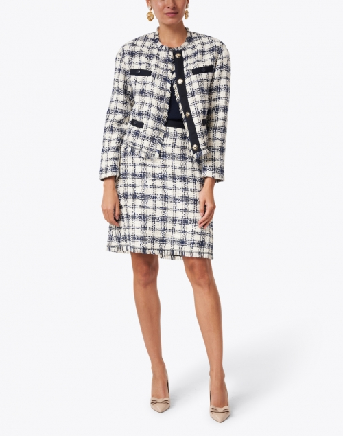 Escada Sport - Rysa Navy and White Cotton Tweed Skirt