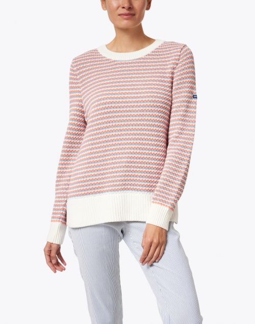 Saint James - Carson Coral, Blue and White Striped Cotton Sweater
