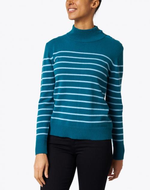 Kinross - Juniper and Light Blue Stripe Cashmere Sweater