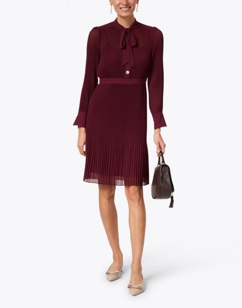 L.K. Bennett - Singer Bordeaux Georgette Shirt Dress