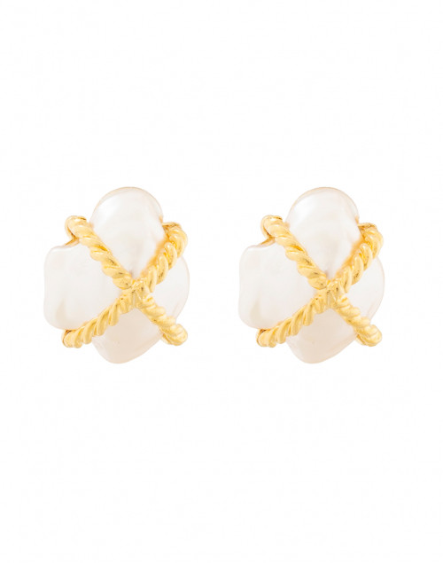 Kenneth Jay Lane - Gold Braided X Pearl Clip On Earrings