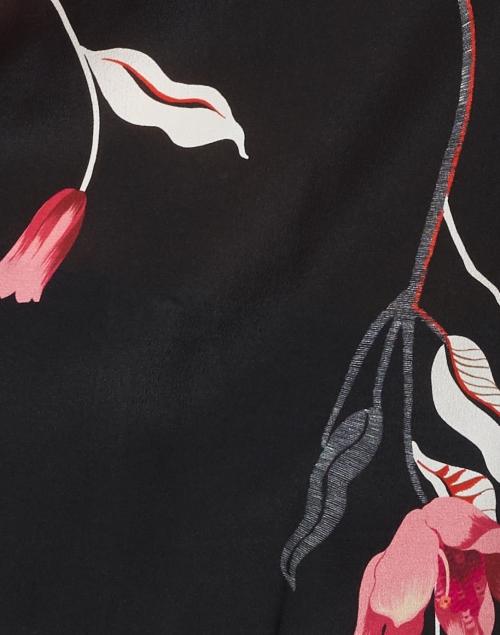 Kobi Halperin - Shana Black Magnolia Floral Printed Silk Blouse