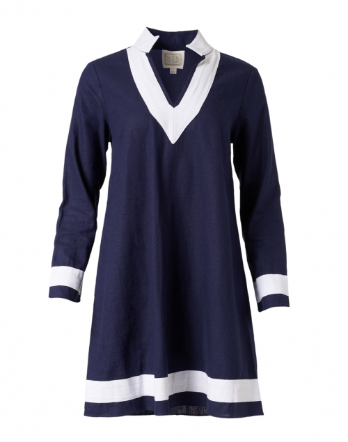 Sail to Sable Navy and White Stretch Linen Tunic Dress