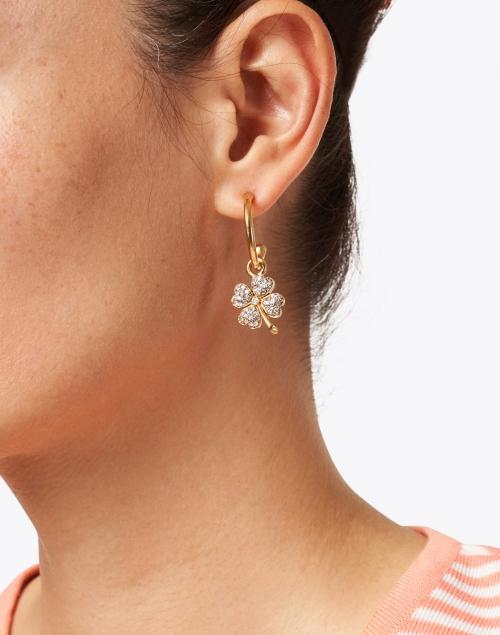 Jennifer Behr - Crystal Clover Gold Hoop Earring