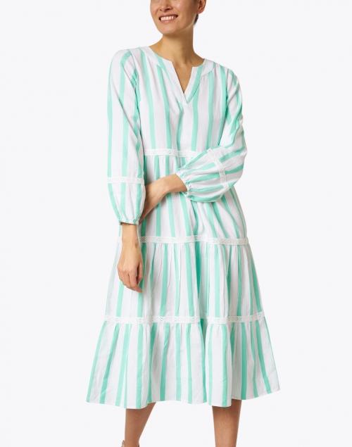 Sail to Sable - White and Mint Stripe Jacquard Cotton Dress