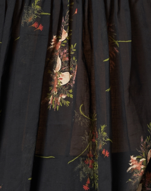 Warm - Flip Flop Black Floral Print Cotton Voile Top
