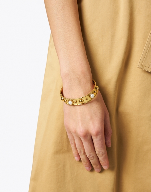 Sylvia Toledano - Pearl and Gold Studded Cuff Bracelet