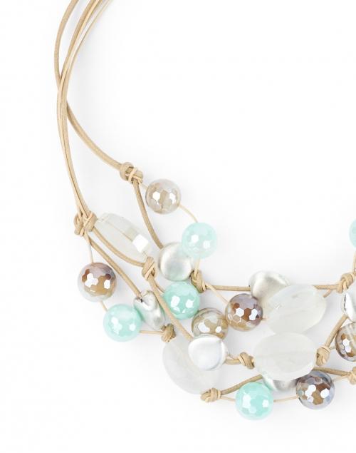 Deborah Grivas - Aqua and Mocha Agate Beaded Necklace