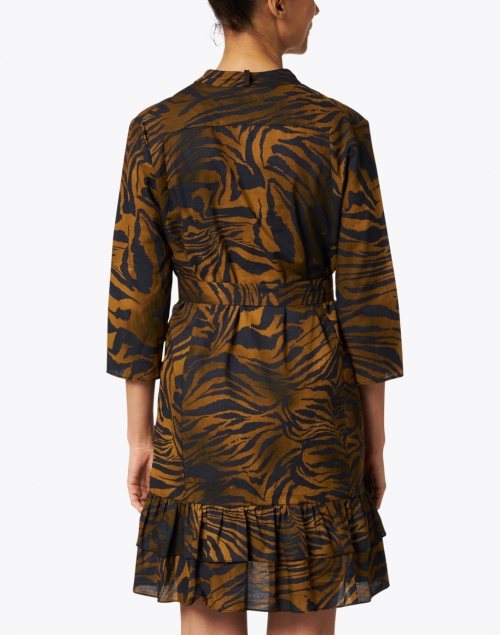 Vilagallo - Patricia Black and Gold Animal Print Cotton Shirt Dress