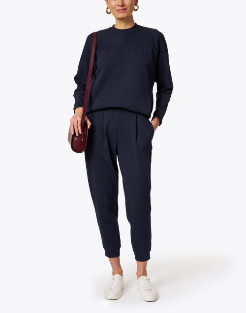 Max Mara Leisure - Bric Navy Cotton Jersey Pleated Pull-On Pant