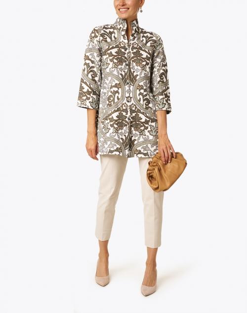 Connie Roberson - Rita Taupe Verona Printed Linen Jacket