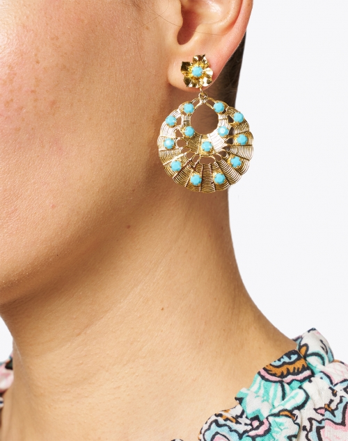 Jennifer Behr - Sarina Gold and Turquoise Drop Earrings