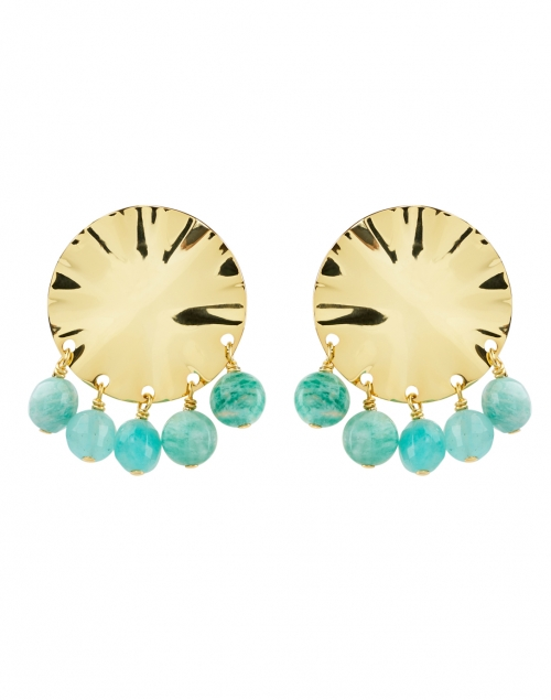 Nest - Gold Circular Wave and Amazonite Beads Drop Earring