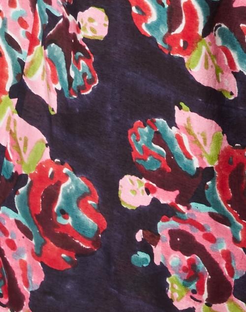 Lisa Corti - Marwar Black Rose Print Satin Shirt Dress