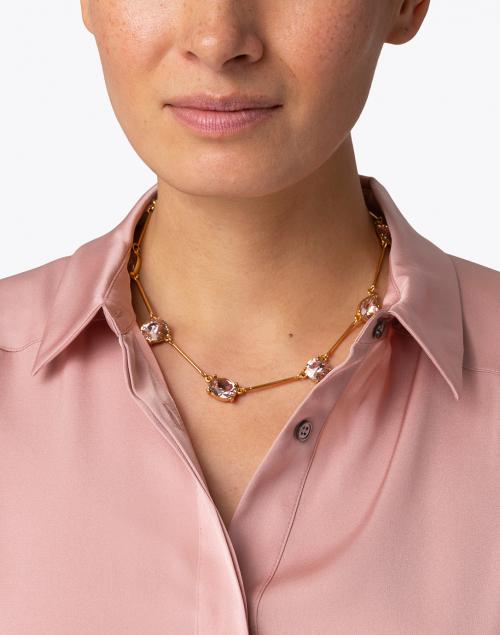 Oscar de la Renta - Light Pink Crystal Stone Necklace