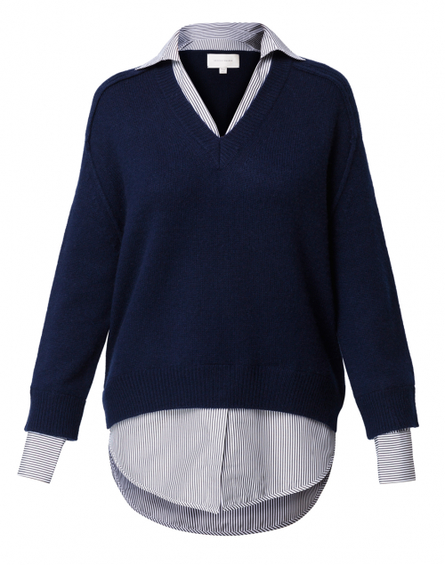 Brochu Walker - Navy Sweater with Striped Underlayer