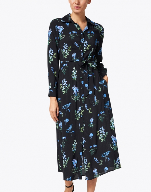 Goat - Livia Blue and Black Meadow Printed Shirt Dress