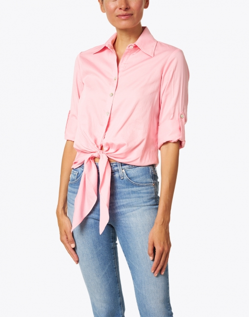 Finley - Lindy Pink Tie Front Cotton Shirt