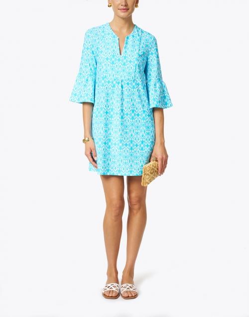 Jude Connally - Kerry Aqua Diamond Ikat Print Dress