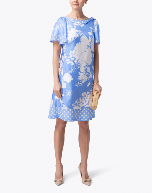 Maison Common - Blue and White Floral and Dot Printed Silk Dress