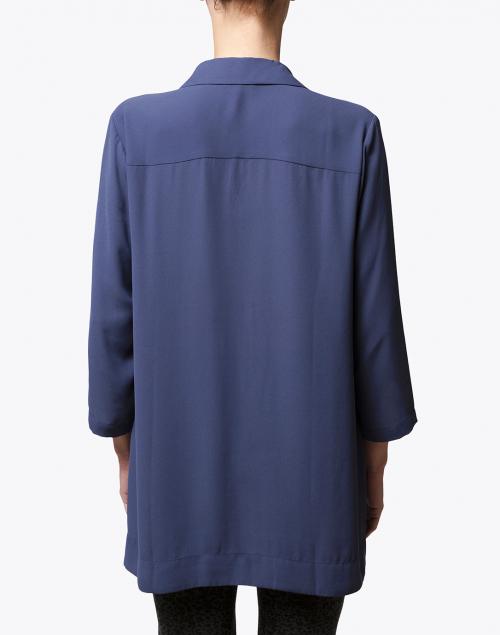 Hinson Wu - Marina Slate Blue Draped Button Down Blouse