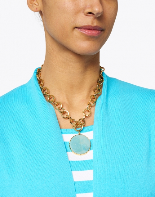 Nest -  Amazonite and Gold Hammered Chain Necklace