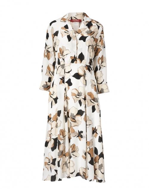 Max Mara Studio Vignola White and Beige Floral Silk Dress