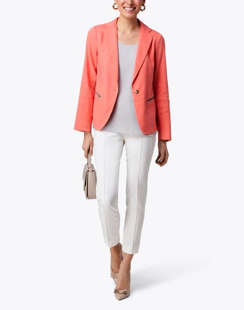 Fabiana Filippi - Coral Linen Blazer with Brilliant Detail