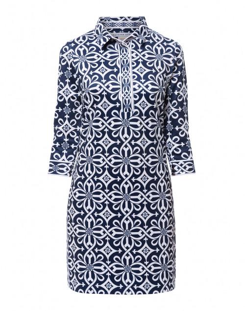 Gretchen Scott - Navy Piazza Printed Jersey Henley Dress