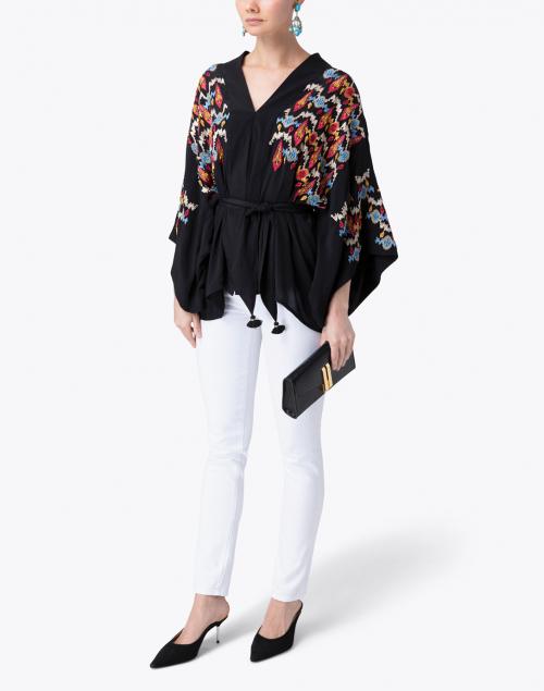 Figue - Tokiko Black Embroidered Kimono Top