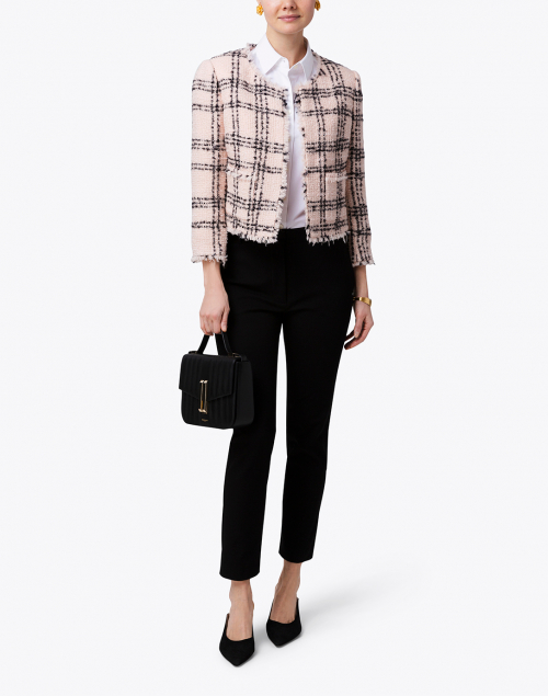 Ports International - Black and Pink Plaid Tweed Jacket