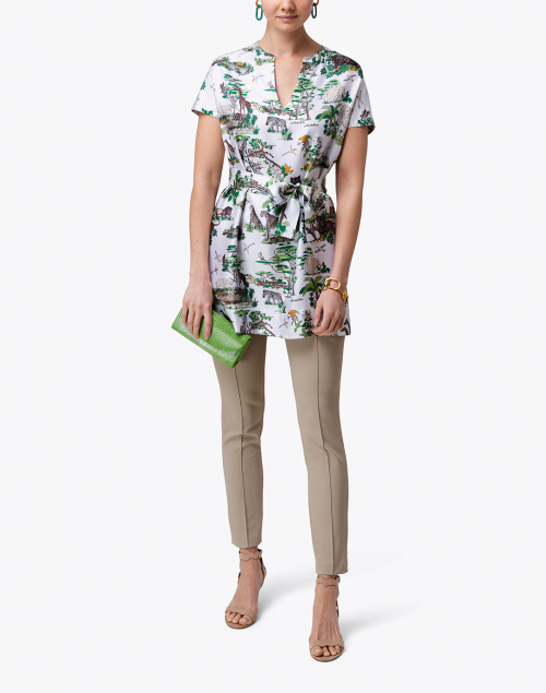 Rani Arabella White and Green Safari Print Silk Tunic
