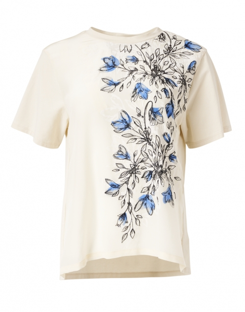 Weekend Max Mara Jajce White and Blue Floral Stretch Cotton and Silk Tee
