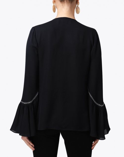 Kobi Halperin - Solana Black Silk Embroidered Blouse