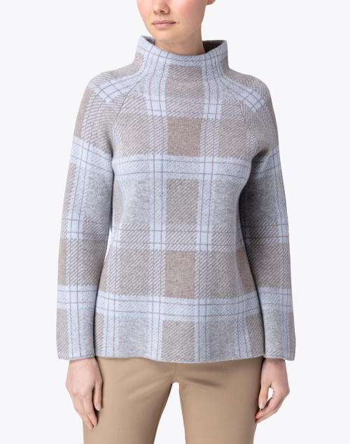 Kinross - Blue Plaid Cashmere Sweater