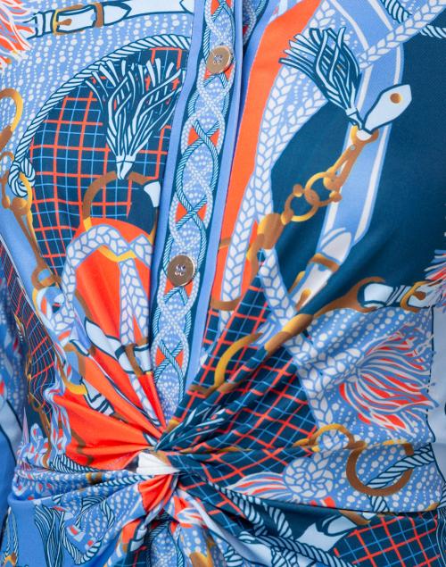 Gretchen Scott - Blue Saddle Printed Twist Front Dress