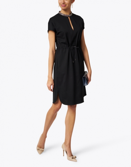 Fabiana Filippi - Black Brilliant Embellished Jersey Dress