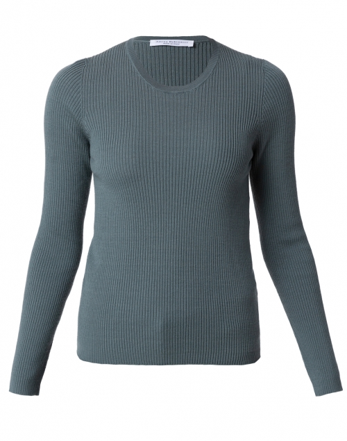 Amina Rubinacci - Bacco Teal Ribbed Wool Sweater