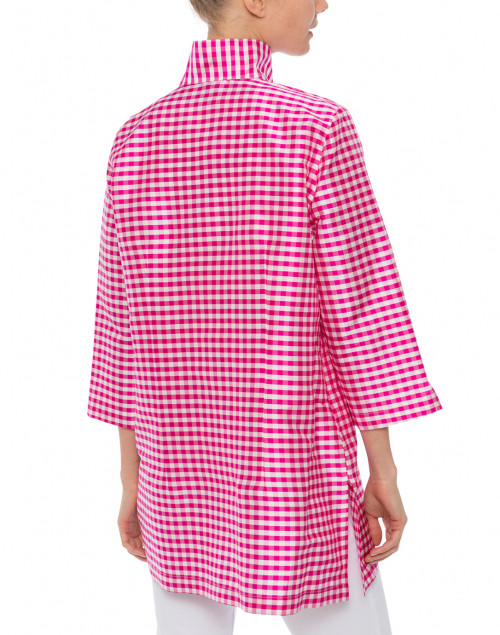 Connie Roberson - Rita Pink and White Gingham Silk Top