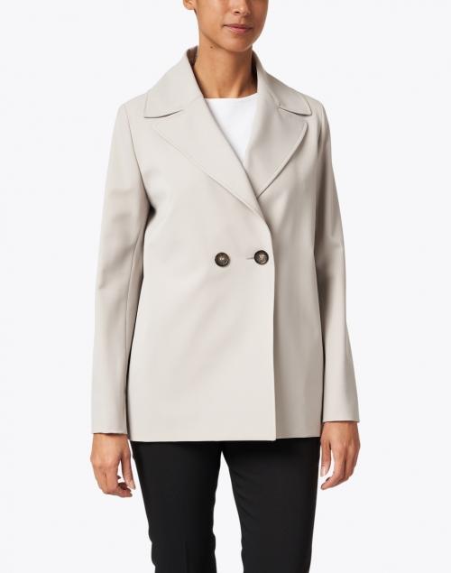 Cinzia Rocca Icons - Light Grey Nylon Double Breasted Swing Jacket