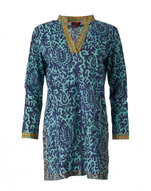 Lisa Corti Eli Teal Damask Print Cotton Tunic Top