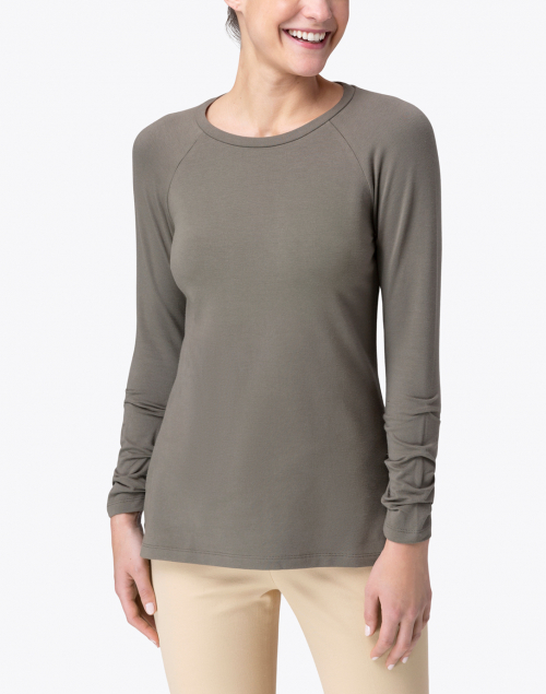 E.L.I. - Sage Pima Cotton Ruched Sleeve Tee